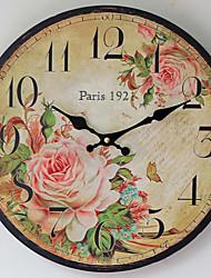cheap -1pcs Painted Rose Craft Clock Nostalgic Paris Spring Home Wall Clock