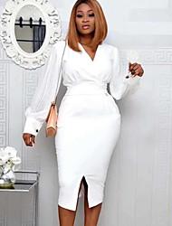 cheap -Women's White Black Dress Sheath Solid Color V Neck M L Slim