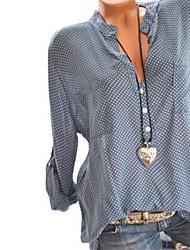 cheap -Women's Polka Dot Loose Shirt Daily V Neck Wine / White / Black / Blue / Yellow / Blushing Pink / Gray