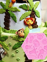 abordables -1 unid bosque animal silicona molde elefante león mono animal diy pastel