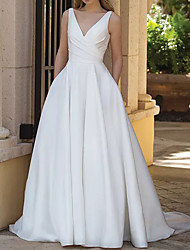 cheap -A-Line Wedding Dresses V Neck Sweep / Brush Train Satin Sleeveless Country Plus Size with Draping 2020