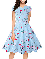 cheap -Women's Blue Dress Vintage Style Going out Swing Floral Basic S M