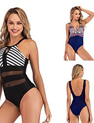 cheap -Women's Beach Girl Vintage 1980s Bikini Peplum Swimsuit Monokini Satin / Tulle Polyster Patchwork Printing Black Dark Blue Leotard / Onesie