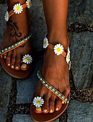 cheap -Women's Sandals Boho Flat Heel Round Toe PU Summer Brown