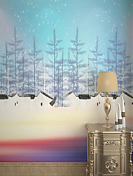 cheap -Customized Self-adhesive Mural Wallpaper Blue Sky Fir Trees Beautiful Picture Suitable For Bedroom Living Room Coffee Shop Restaurant Hotel Wall Decoration Art
