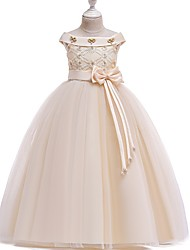 cheap -Princess Bateau Floor Length Cotton Junior Bridesmaid Dress with Bow(s) / Pearls / Appliques