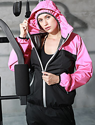 cheap -Women's 2-Piece Patchwork Tracksuit Sauna Suit Sweatsuit 2pcs Winter Hooded Running Fitness Jogging Windproof Breathable Soft Sportswear Athletic Clothing Set Long Sleeve Activewear Micro-elastic