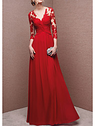 cheap -A-Line Chinese Style Red Engagement Formal Evening Dress V Neck 3/4 Length Sleeve Floor Length Polyester with Appliques 2020