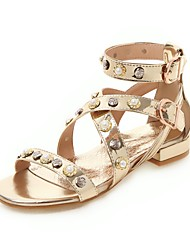 cheap -Women's Sandals Spring & Summer Block Heel Open Toe Casual Preppy Daily Pearl Solid Colored PU Gold / Silver
