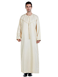 cheap -Men's Daily Basic Spring &  Fall Long Abaya, Color Block Round Neck Long Sleeve Polyester Patchwork Black / White / Beige