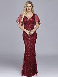 cheap -Mermaid / Trumpet Hot Red Prom Formal Evening Dress V Neck Short Sleeve Floor Length Tulle Sequined with Sequin Appliques 2020
