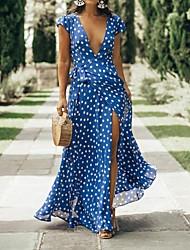 cheap -Women's Maxi Blue Dress Swing Polka Dot Deep V M L