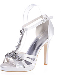 cheap -Women's Wedding Shoes Ankle Strap Heel Open Toe Wedding Sandals Classic Wedding Party & Evening Walking Shoes Satin Rhinestone Solid Colored White Purple Red