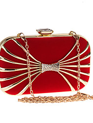 cheap -Women's Bags Polyester Alloy Evening Bag Crystals Chain Solid Color Wedding Bags Wedding Party Event / Party Black Red