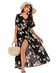 cheap -Women's Chiffon Dress - Geometric Black Maxi Wine White S M L XL