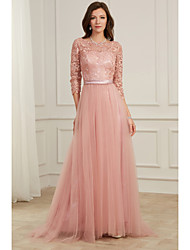 cheap -A-Line Pink Spring Party Wear Formal Evening Dress Jewel Neck Long Sleeve Sweep / Brush Train Lace Tulle with Appliques 2020