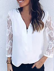 cheap -Women's Solid Colored Lace Embroidery Hollow T-shirt - Lace Daily V Neck White / Black
