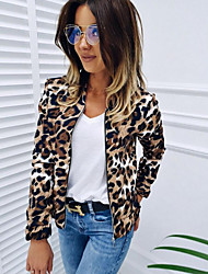cheap -Women's Daily Regular Jacket, Leopard Stand Long Sleeve Polyester Khaki