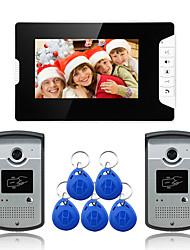 Недорогие -проводной 7-дюймовый громкой связи 800 * 480 пикселей два к одному видео домофон