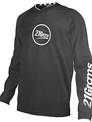 cheap -21Grams Men's Long Sleeve Cycling Jersey Downhill Jersey Dirt Bike Jersey Spandex Polyester Black / White Bike Jersey Top Mountain Bike MTB Road Bike Cycling UV Resistant Breathable Quick Dry Sports