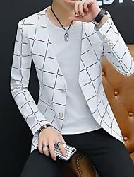 cheap -Men's Blazer V Neck Polyester White / Black / Navy Blue
