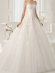 cheap -A-Line Strapless Sweep / Brush Train Lace Sleeveless Beach Wedding Dresses with Lace Insert / Embroidery 2020