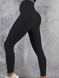 cheap -Women's High Waist Leggings Running Tights Compression Pants Patchwork Elastane Sports Leggings Bottoms Running Fitness Jogging Training Moisture Wicking Butt Lift Tummy Control Solid Colored Black