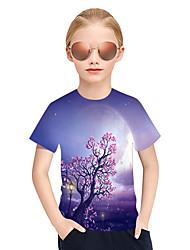 Недорогие -Дети Девочки Активный Панк & Готика Цветочный принт 3D В клетку С короткими рукавами Футболка Лиловый