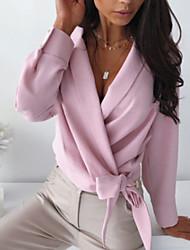 Недорогие -Жен. Однотонный Шнуровка Пэчворк Свободный силуэт Рубашка Элегантный стиль Уличный стиль Повседневные На выход V-образный вырез Белый / Черный / Розовый