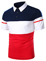 cheap -Men's Daily Work Basic Polo - Striped / Solid Colored Black & Red / Black & White, Patchwork Red