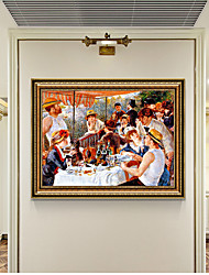 cheap -Framed Art Print Pierre-Auguste Renoir SetLunch On A Yacht Wall Art PS Oil Painting  On Canvas for Home Deco