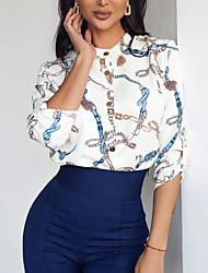 Недорогие -Жен. Цветочный принт Рубашка Повседневные Белый