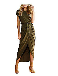 cheap -Women's Maxi Green Blue Dress Sheath Solid Color XS S / Cotton