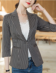 cheap -Women's Blazer, Solid Colored Notch Lapel Polyester Yellow / Black / Beige