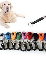 cheap -1set Pet Cat Dog Training Clicker Plastic New Dogs Click Trainer Aid Too Adjustable Wrist Strap Sound Key Chain og whistle