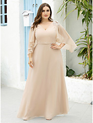 cheap -A-Line Mother of the Bride Dress Elegant Plus Size V Neck Floor Length Chiffon Half Sleeve with Appliques 2020 / Butterfly Sleeve