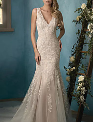 cheap -Mermaid / Trumpet V Neck Sweep / Brush Train Lace / Tulle Sleeveless Casual Plus Size Wedding Dresses with Draping / Appliques 2020