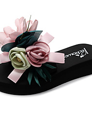 cheap -Women's Slippers & Flip-Flops Flat Heel Open Toe Satin Flower / Ribbon Tie Polyester Casual / Minimalism Walking Shoes Summer Black / Yellow / Navy Blue / Color Block