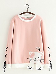 cheap -Women's Basic Sweatshirt - Cartoon Blushing Pink One-Size