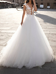 cheap -A-Line Wedding Dresses Jewel Neck Sweep / Brush Train Tulle Sleeveless Formal Plus Size with Lace Insert Appliques 2020