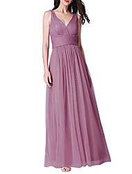 cheap -A-Line V Neck Ankle Length Chiffon Bridesmaid Dress with Tier