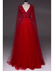 cheap -A-Line Luxurious Red Engagement Formal Evening Dress V Neck Half Sleeve Sweep / Brush Train Tulle with Beading Sequin Draping 2020