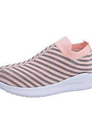 cheap -Women's Flats Flat Heel Round Toe Tissage Volant Casual / Minimalism Walking Shoes Fall / Spring & Summer Pink / Black / Gray / Striped