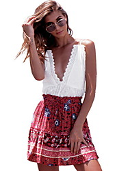 cheap -Women's Boho Swing Skirts - Geometric Blue Red One-Size