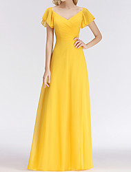 cheap -A-Line V Neck Floor Length Chiffon Bridesmaid Dress with Tier