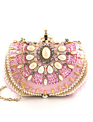 cheap -Women's Bags Polyester Evening Bag Crystals Floral Print Wedding Bags Wedding Party Event / Party Blushing Pink