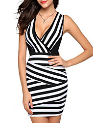 cheap -Women's Daily Going out Casual Street chic Bodycon Sheath Dress - Striped Color Block Patchwork Black M L XL XXL