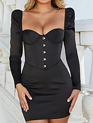 cheap -Women's Blue Black Dress Bodycon Solid Color Deep U S M