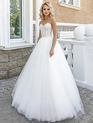 cheap -A-Line Strapless Floor Length Lace / Tulle Strapless Sexy Plus Size Wedding Dresses with Lace / Appliques 2020