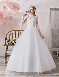 cheap -Ball Gown Wedding Dresses High Neck Floor Length Lace Tulle Polyester 3/4 Length Sleeve Romantic with Lace 2020 / Illusion Sleeve